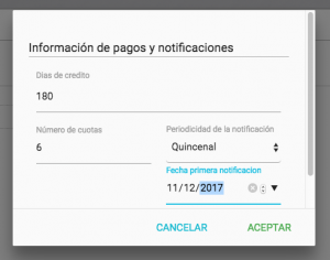 Registro de plazos y notificaciones pagos por abonos