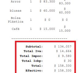 Discriminación en la impresión de la factura POS