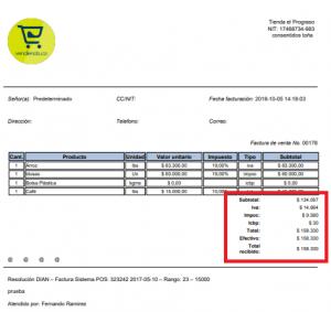 Discriminación en la impresión de la factura carta