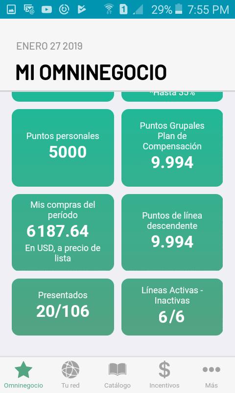 Datos del negocio mensual Omninegocio