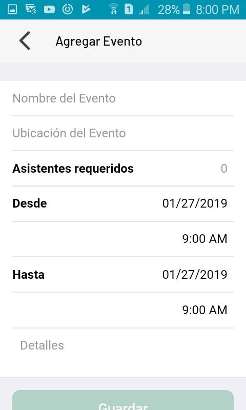 Nuevo evento o reunión