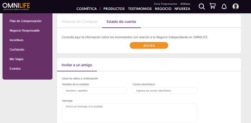 Acceso al estado de cuenta Zona de empresarios Omnilife