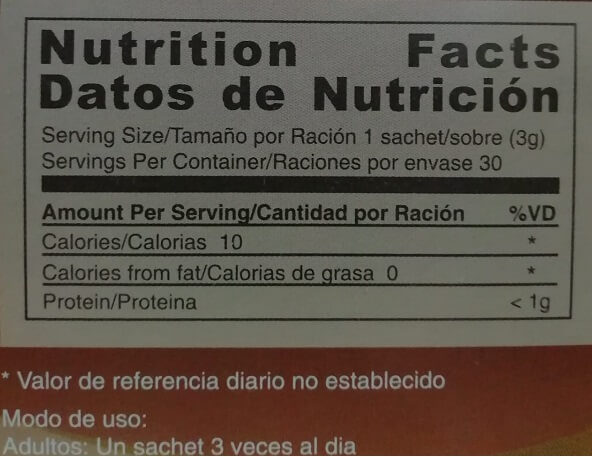 Nutrition facts Gano Cafe Classic