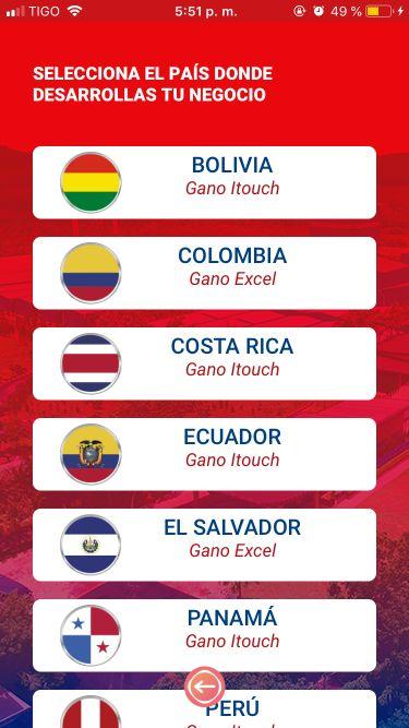 Gano Excel itouch Centro y Suramérica App
