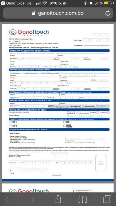 Contrato de afiliación Gano iTouch