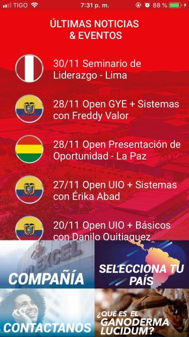 Pantalla inicial Gano Excel Centro y Suramérica App