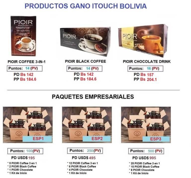 Listado de precios Gano iTouch Bolivia