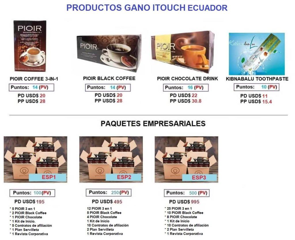 Precios Productos Gano iTouch Ecuador