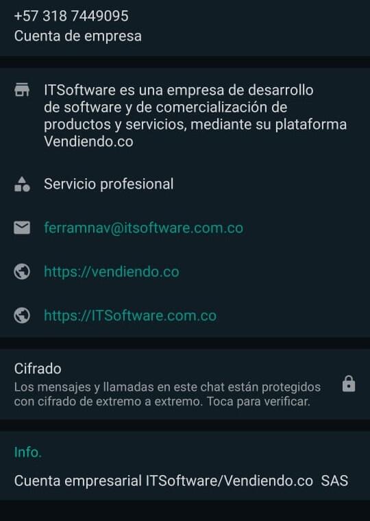 Perfil de la empresa WhatsApp Business