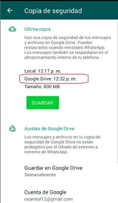 Ultimo Backup WhatsApp Personal