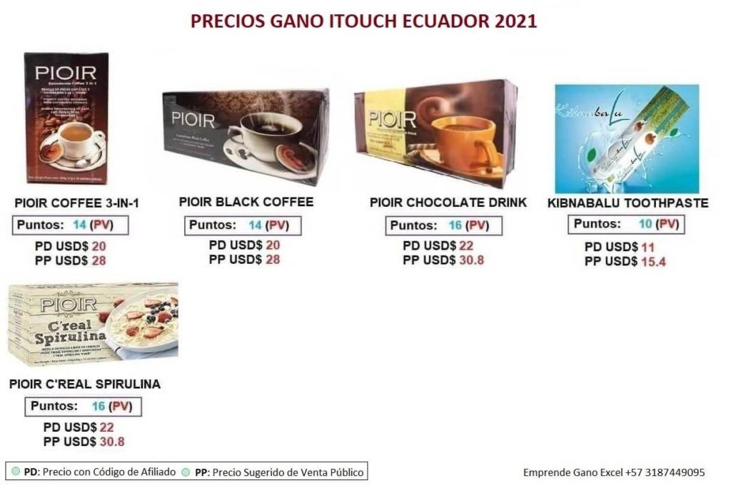Precios Gano iTouch Ecuador